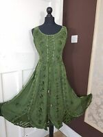 Midi Gothic Corset Style Pagan Boho Hippie Rayon Dress 8 10 12 14 16 18 20 22 24