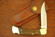 VINTAGE BUCK 110 WOOD LOCKBACK FOLDING HUNTER KNIFE MADE IN USA 1992 (4017)
