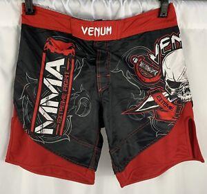 VENUM MMA Shorts Black Red Men's Medium 33 Skull Combat Sports Martial Arts
