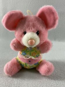 "Vintage 1987 Dan Dee Plush Pink Bear 6"" Sitting Plastic Nose Stuffed Animal"