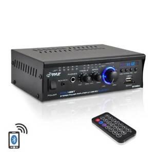 Pyle PCAU48BT Mini Blues Series 120W 2 Channel Power Bluetooth Amplifier Stereo