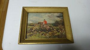 """Color Hunting Print Artist G S Wright """"The Hunt is On"""" Wood Framed W/Glass"""
