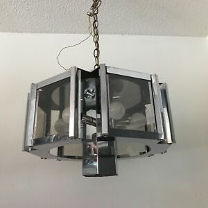 Antique Frederick Raymond chrome glass geometric light fixture chandelier