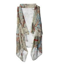 Accents by Lavello Sheer 4 in 1 Convertible Chiffon Vest Grey Crewel Paisley