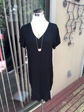 NEW Anthropologie Size M Cloth &Stone Short Sleeve V Neck T-Shirt Dress Black