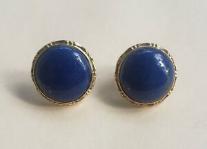 Vintage Solid Gold 14k Yellow Gold Lapis Gemstone Earrings