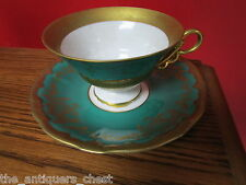 Weimar Porzellan Germany cup/saucer Kathatina pattern, green and gold[*11]