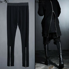 Byther Unique Urban Casual Black Back Silver ZIPPER Detail Mens Leggings UK