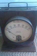 Westinghouse Electrical meter VoltMeter Wood Case Vintage Rare 1900's
