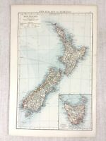1898 Antik Map Of New Zealand Tasmanien North South Island Alte 19th Jahrhundert