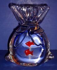 Murano Art Glass Paperweight Aquarium Bag With Tropical Fish  Italy Venezia