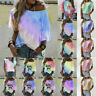 Women Loose T-Shirt Tie-Dye Gradient Shirts Short Sleeve Blouse Summer Tops UK