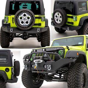 Rock Crawler Full Width Front+Rear Bumper+Winch Plate fit 07-18 Jeep JK Wrangler
