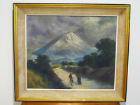 Antique MEXICAN IMPRESSIONIST OIL PAINTING  MOUNTAIN WITH WALKING COUPLE -SIGNED