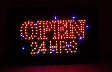 Animated Motion LED Open 24 hours Sign On Off Switch Bright Light Neon 19""
