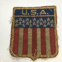 Vintage Worn Tattered Ragged Old USA Stars & Stripes Emblem Patch Patriotic