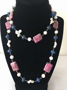 Sterling Silver Beads Pearls Pink Turquoise Sodalite Wire Wrap Artisan Necklace