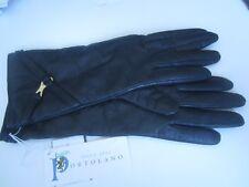PORTOLANO Leather Lambswool Angora Nylon Women 8 Soft Black Gloves NWT ITALY