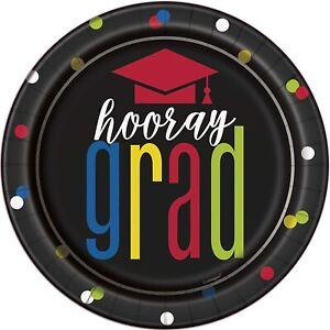 8 x Graduation Paper Plates 18cm Bright & Colourful graduation Party Tableware