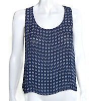 e.vil 100% Silk Skull Blue White Sleeveless Tank Top size XS /9685