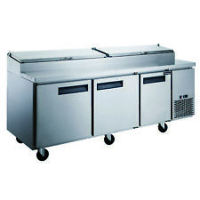 New Dukers Dpp90 12 S3 Commercial 3 Door Pizza Prep Table Refrigerator