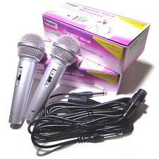 COPPIA di Vocal Microfono Dinamico Portatile inc Cavo XLR DJ Set Karaoke Disco Casa #