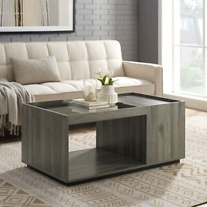 Manor Park Acadia Modern Lift Top Coffee Table, Slate Grey