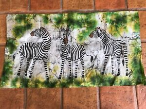 Vintage Large Kenyan Batik With 3 Zebras