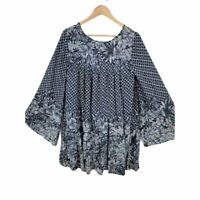 Free People Women's Blue Floral Print Mini Dress Size M Lined Long Bell Sleeve