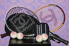 CHANEL Collector 2)Tennis Rackets Mesh COCO Carry Case PLUS 4)Pink Balls NWT Set
