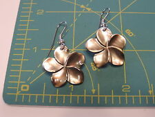 Carved Brown MOP Mother of Pearl shell PLUMERIA Flower Dangle Earrings 1a 22