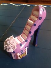 PURPLE POLKA DOT & STRIPED STILETTO RING & JEWELRY HOLDER WITH DRAWER