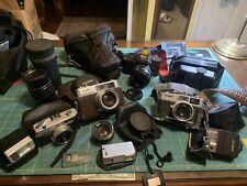 Big Lot Vintage SLR Cameras 35mm Canon Minolta Yashica Konica Flash Extra Lenses