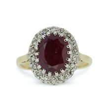 Vintage Oval Ruby and Diamond Halo Cluster Ring 18ct Yellow Gold