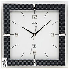 AMS 5855 Wanduhr Funk Funkwanduhr analog eckig mit Glas und Carbon-Applikationen