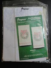 Wreath One Pair Stamped Kitchen Towels Kit Progress 17 x 30 Each