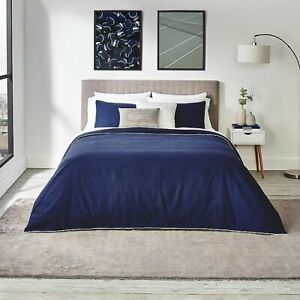 Lacoste Gorbio Duvet Cover Set With 2 Shams Navy Blue King Ribbed Cotton $200