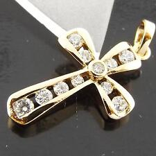 A026 GENUINE REAL 18K YELLOW GOLD G/F LADIES DIAMOND SIMULATED CROSS PENDANT
