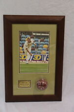 Framed Brett Lee Photograph and Signed Cricket ball