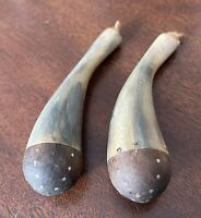 Pair of ANTIQUE African MAASAI KENYA Horn & Wood Tribal Tobacco Snuff Containers