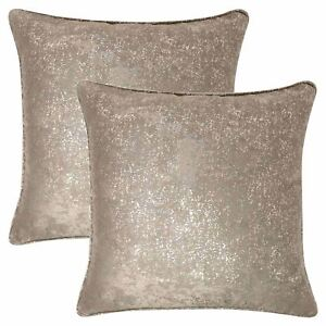 """2 X GOLD GLITTERED SPARKLE GOLD NATURAL VELVET LOOK 18"""" CUSHIONS FILLED £18.99"""