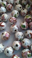 120+ Vintage Cloisonne 10mm Round Beads—White with Pink and Green Floral Accent