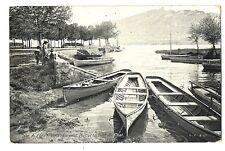 CPA 73 Savoie Aix-les-Bains Le petit Port et la Dent du Chat animé bateaux
