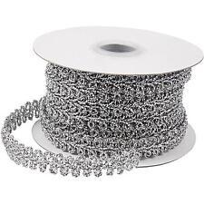 2m Silver Braided Metallic 10mm Trim Ribbon Sewing Card Making Decoration Craft
