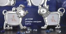 Bomboniera cornice portafoto in metallo, cm 10*11 2 soggetti, cane gatto