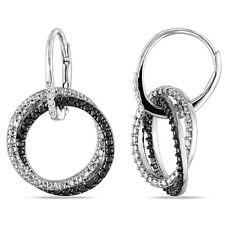Haylee Jewels Sterling Silver White Diamond Dangle Earrings
