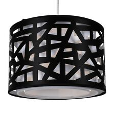 Modern Black Geometric Ceiling Light Easy Fit Drum Shade for Lounge or Bedroom