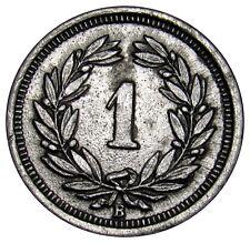 Switzerland 1 Rappen 1944 coin km#3a zinc double strike on value error  VE01