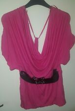 Elegant top with belt. Size 12 Slight stretch. Perfect condition
