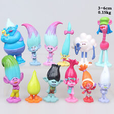 12 Pcs/Lot Movie Trolls Poppy Branch Action Figures Cake Toppers Toys Doll Xmas